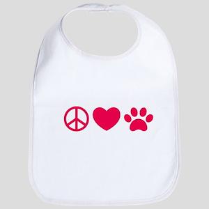 Peace, Love, Pets Bib