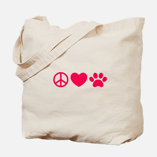 Peace, Love, Pets Tote Bag