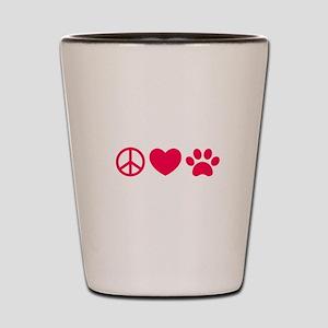Peace, Love, Pets Shot Glass