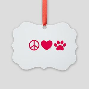 Peace, Love, Pets Picture Ornament