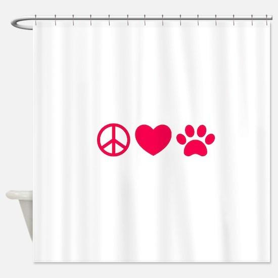 Peace, Love, Pets Shower Curtain