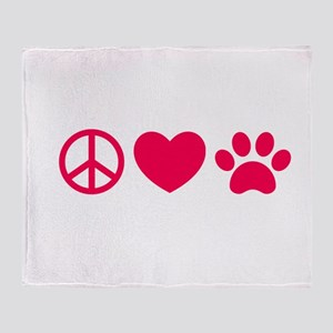Peace, Love, Pets Throw Blanket