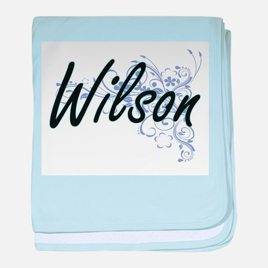 Wilson surname artistic design with F baby blanket