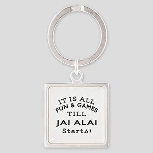 Jai Alai Fun And Games Designs Square Keychain