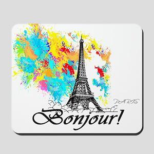 BONJOUR EIFFEL TOWER PARIS Mousepad