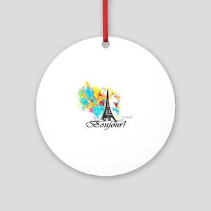 BONJOUR EIFFEL TOWER PARIS Round Ornament
