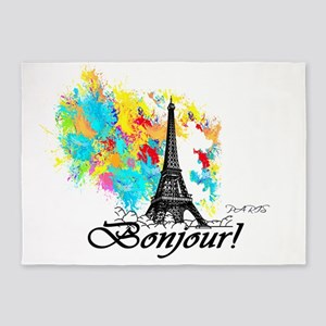 BONJOUR EIFFEL TOWER PARIS 5'x7'Area Rug