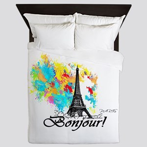 BONJOUR EIFFEL TOWER PARIS Queen Duvet