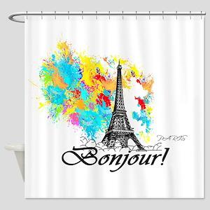 BONJOUR EIFFEL TOWER PARIS Shower Curtain