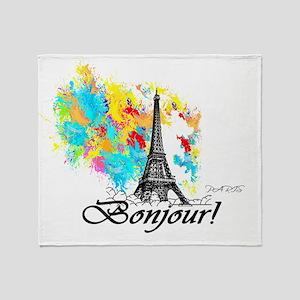 BONJOUR EIFFEL TOWER PARIS Throw Blanket