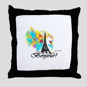 BONJOUR EIFFEL TOWER PARIS Throw Pillow