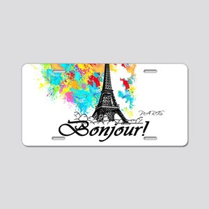 BONJOUR EIFFEL TOWER PARIS Aluminum License Plate