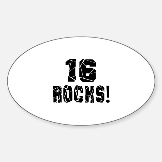 16 Rocks Birthday Designs Sticker (Oval)