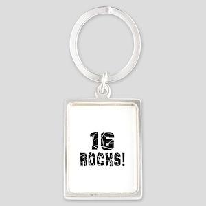 16 Rocks Birthday Designs Portrait Keychain