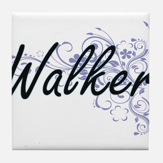 Walker surname artistic design with F Tile Coaster