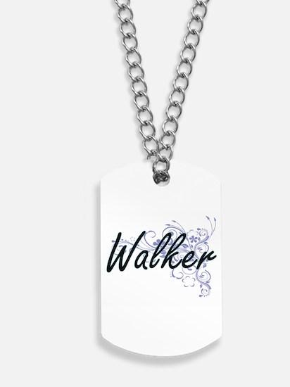 Walker surname artistic design with Flowe Dog Tags