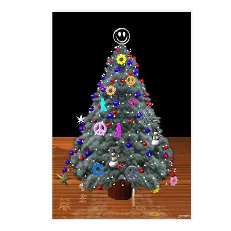 3D Christmas Peace Tree Postcards (Package of 8)