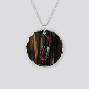 Fine Wine Necklace Circle Charm