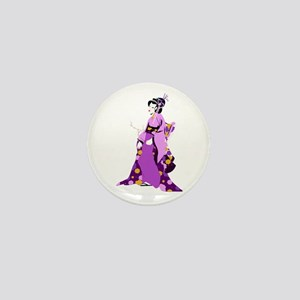 Geisha body cartoon Mini Button