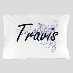 Travis surname artistic design with Fl Pillow Case