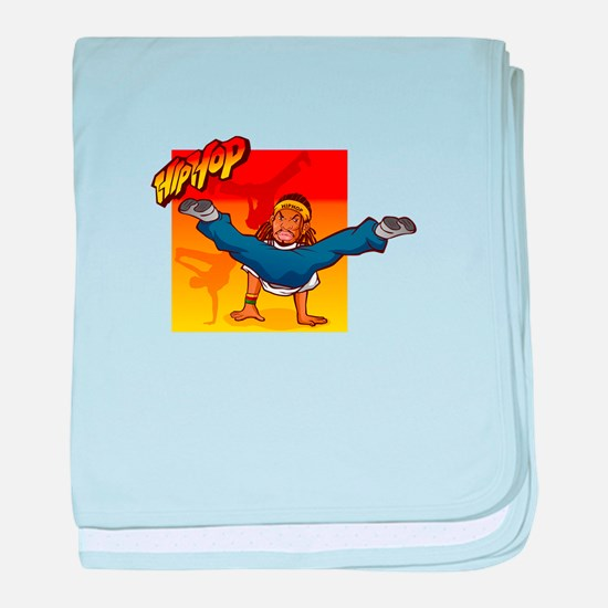 HipHop man dancing on hands baby blanket