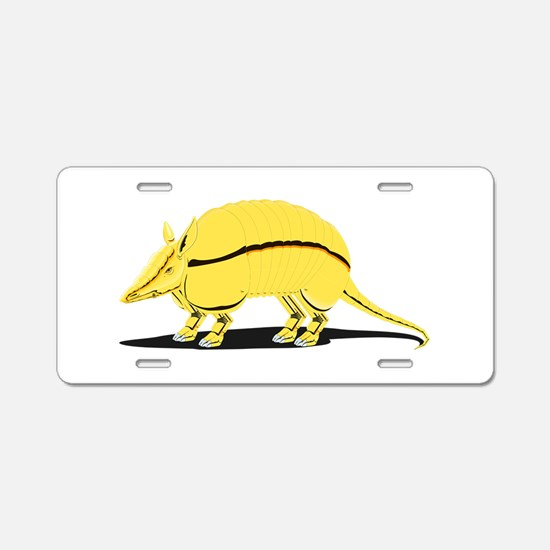 Yellow Armadillo Aluminum License Plate
