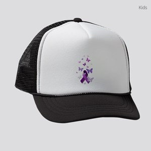 Purple Awareness Ribbon Kids Trucker hat