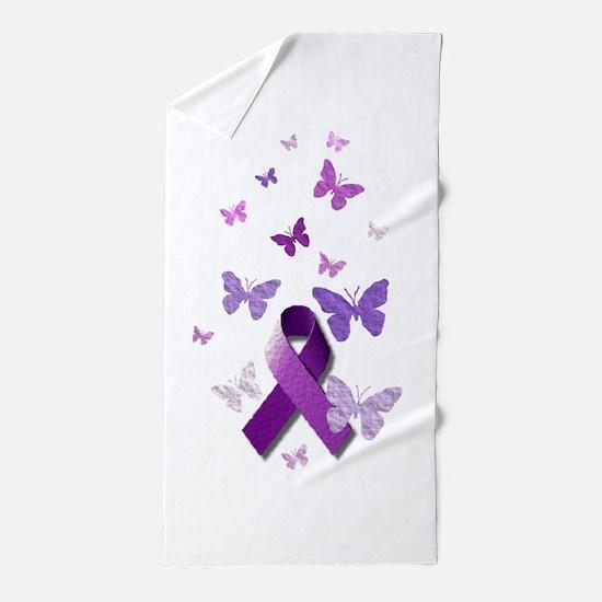 Purple Awareness Ribbon Beach Towel