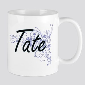Tate surname artistic design with Flowers Mugs