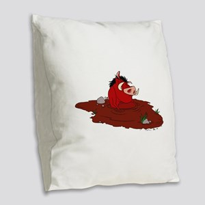 The Lion King in water Burlap Throw Pillow