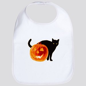 Cat and Halloween pumpkin Bib