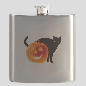 Cat and Halloween pumpkin Flask