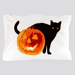 Cat and Halloween pumpkin Pillow Case