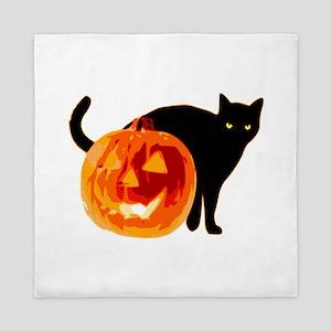 Cat and Halloween pumpkin Queen Duvet