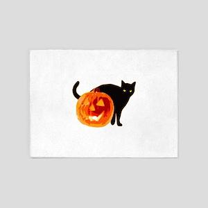 Cat and Halloween pumpkin 5'x7'Area Rug