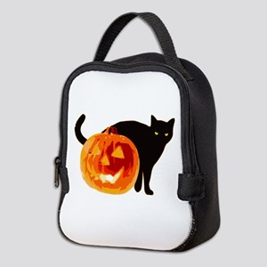 Cat and Halloween pumpkin Neoprene Lunch Bag