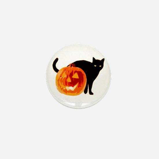 Cat and Halloween pumpkin Mini Button