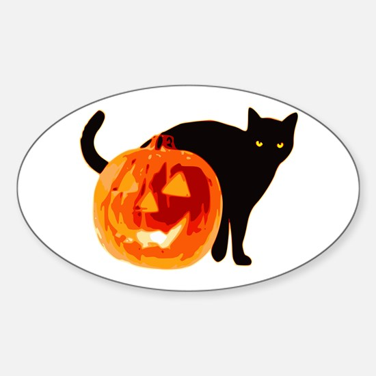 Cat and Halloween pumpkin Decal