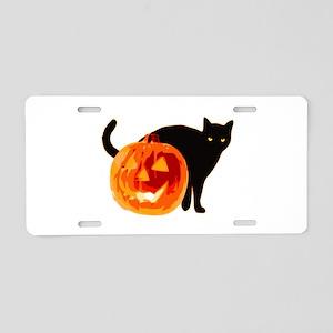 Cat and Halloween pumpkin Aluminum License Plate