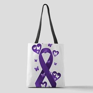 Purple Awareness Ribbon Polyester Tote Bag