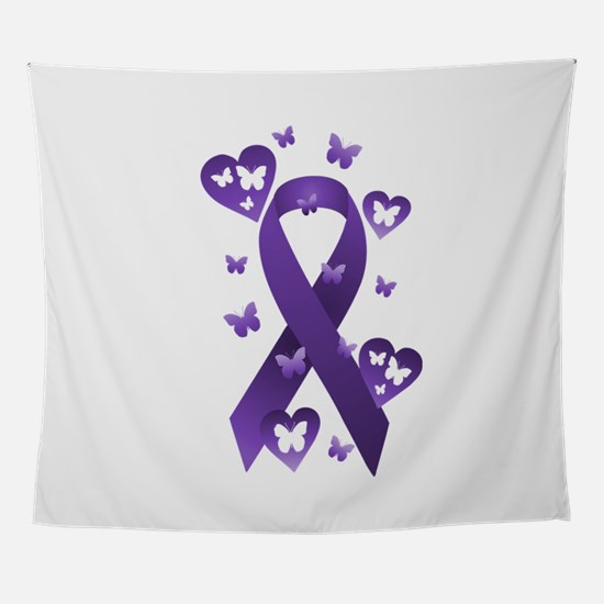Purple Awareness Ribbon Wall Tapestry