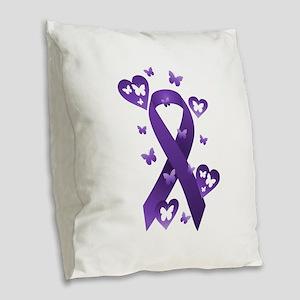 Purple Awareness Ribbon Burlap Throw Pillow