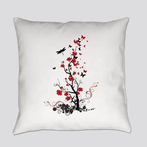 Black and Red Flowers Everyday Pillow