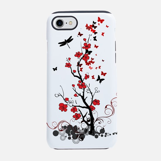 Black and Red Flowers iPhone 8/7 Tough Case