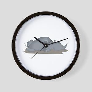 Rhino Sleeping Wall Clock