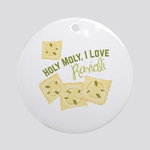 I Love Ravioli Round Ornament