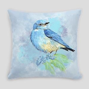 Watercolor Bluebird Blue Bird Art Everyday Pillow