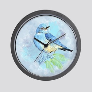 Watercolor Bluebird Blue Bird Art Wall Clock