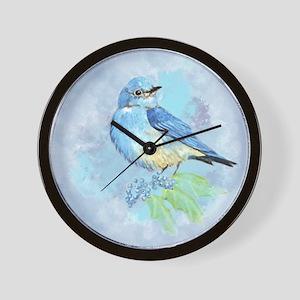 Watercolor Bluebird Blue Bird Art Wall Clock