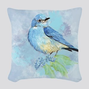 Watercolor Bluebird Blue Bird Art Woven Throw Pill